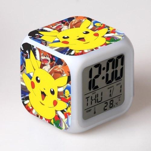 Novel Pokemon Pikachu Digital Alarm Clock Night Light