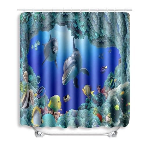Cortina de chuveiro azul do oceano do golfinho do teste padrão impresso do oceano