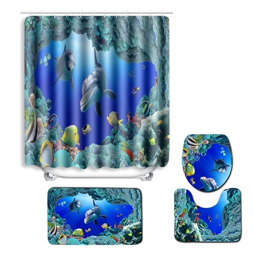 4pcs/set Blue Ocean Dolphin Printed Pattern Bathroom Decoration Water-resistant Shower Curtain