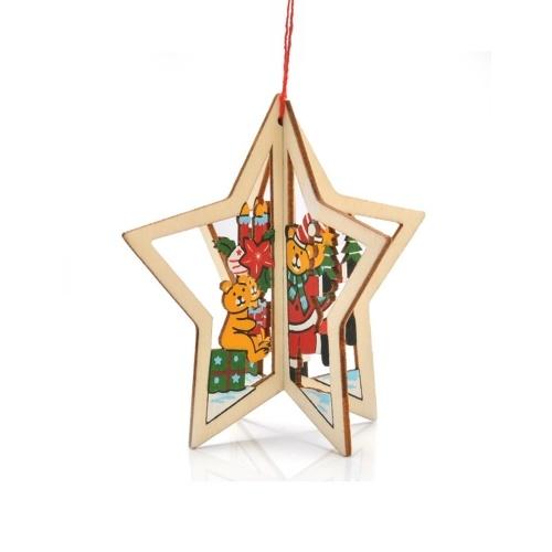 Árvore de Natal 3D ornamentos pingente de madeira pendurado Xmas