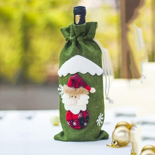 Christmas Wine Bottle Cover Bag Santa Claus Snowman Champagne Wrap Clothes