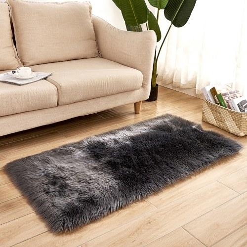 長いぬいぐるみウルトラ柔らかいふわふわの敷物長方形の形の偽のシープスキンウールのカーペット敷物
