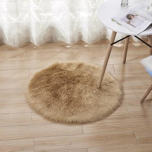 Soft Plush Round Fluffy Rugs Artificial Wool Floor Mat Carpet