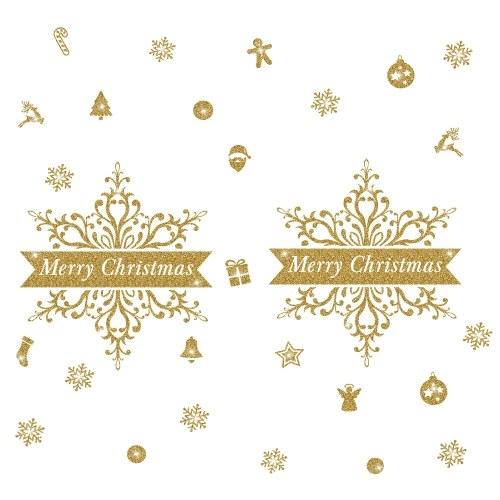 Etiqueta de parede de brilho de ouro de dia de Natal de inverno
