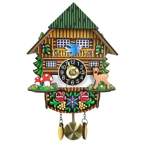 Wooden Cuckoo Wall Clock Retro Swinging Pendulum Clock