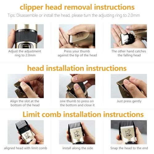 decdeal Pets Dog Cat Electric Clipper Dog Grooming Kit Dog Trimmer for Small Dogs Cats USB Rechargeable Low Noise Powerful Motor