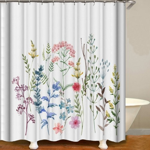 Shower Curtain Flowers Trees Imprimir Cortinas de blecaute