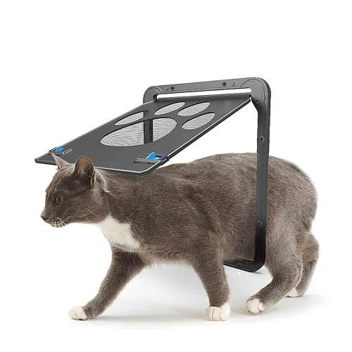 Puerta de malla para mascotas Puerta magnética con solapa Pantalla negra bloqueable automática para cachorro de gatito pequeño gato