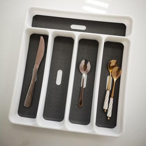 Image of Schublade Organizer Besteckkasten Besteck Utensilien Aufbewahrung 5 Abschnitte für Küche Büro Esszimmer