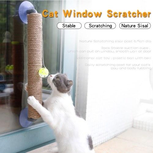 Posto de arranhões fixado na parede com bola de suspensão Toy Cat Scratcher Cat Climbing Scratching Toy para gatos jogando sozinho