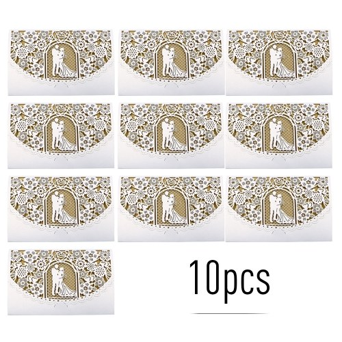 10pcs Pearl Paper Floral Invitation Cards Invitation Holders