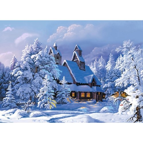 Pintura Diamante DIY 5D Snow Lodge Pintura Diamante