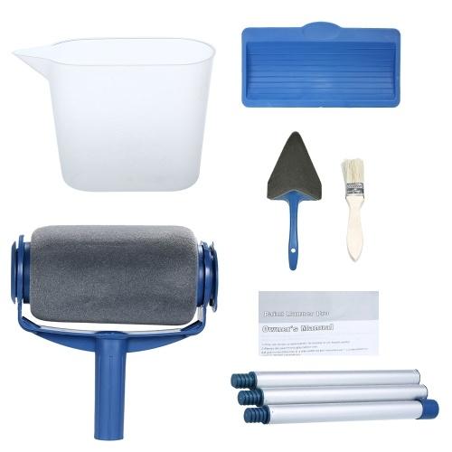 Farbroller Set mit Sticks schmücken Runner Tool Malerei Pinsel Set (9pcs Aluminiumlegierung Rohr)