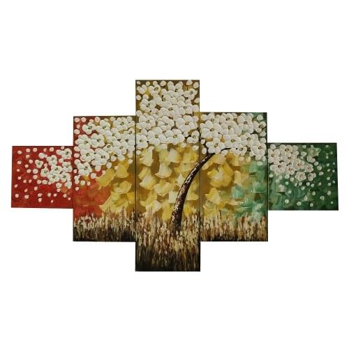 Golden Tree 5 piezas abstractas pinturas
