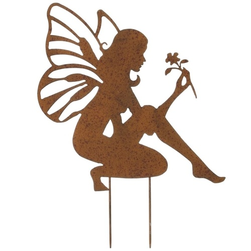 Metal Garden Stake Fairy Shape Statue Retro Sculpture Outdoor Fences Lawn Backyards Stake Decoration Figurines Ornament Statues