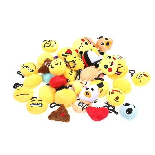 20pcs Emoji Plush Toys Mini llavero colgantes
