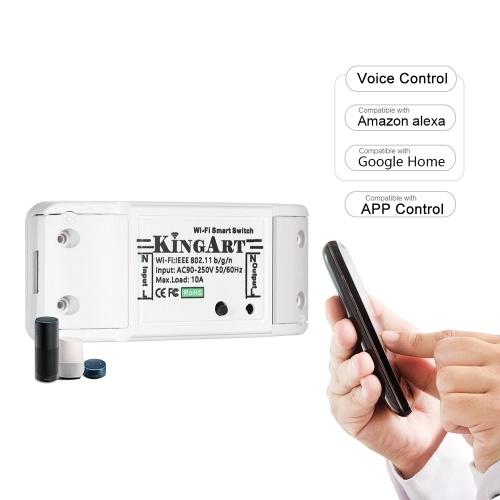 10A 90-250V Interruptor Wi-Fi inteligente Interruptor inalámbrico Control de voz / aplicación