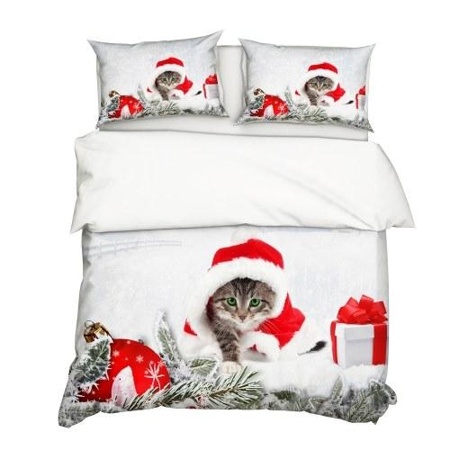 2 Teile / satz Weihnachten Stil 3D Katze Gedruckt Muster Bettbezug
