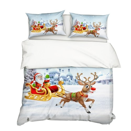 Funda nórdica 2Pcs / Set Christmas Style 3D Santa Claus & Elk Pattern impreso