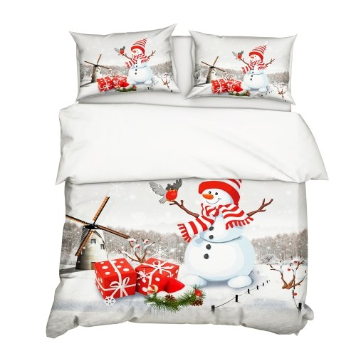 2Pcs/Set Christmas Style 3D Snowman Printed Pattern Duvet Cover