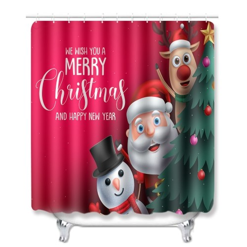 Christmas Style Santa Claus Printed Pattern Shower Curtain