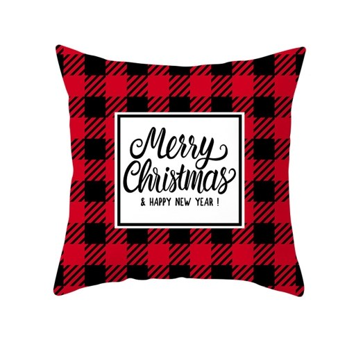 Christmas Style Pillowcase Red Plaid Cushion Cover