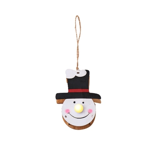 Christmas Luminous Wood Doll Pendant Santa Snowman Elk LED Light