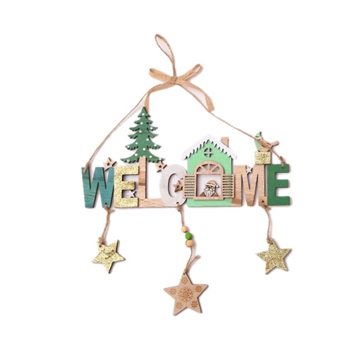 Christmas Wooden Bells Letter Pendant Welcome to the Door Sign фото
