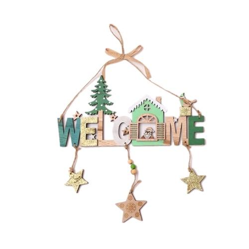 Ciondolo con lettere di campane di legno di Natale Benvenuti al cartello della porta