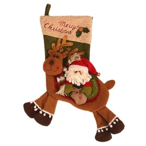 Calze regalo di Natale Santa Snowman Riding Deer