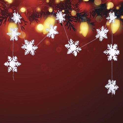 Adornos navideños de cadena de copo de nieve de papel perla 3D