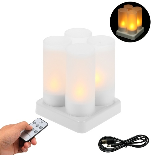 Rechargeable LED Yellow Flickering Flameless Tealight Candles Lights with Remote Control Frosted Cups Charging Base