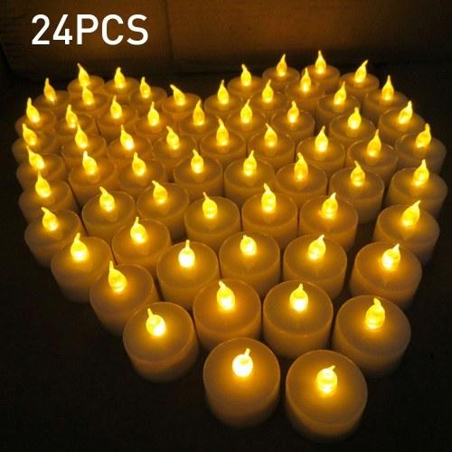 24шт имитация беспламенного чая свечи светодиодные свечи для годовщины свадьбы