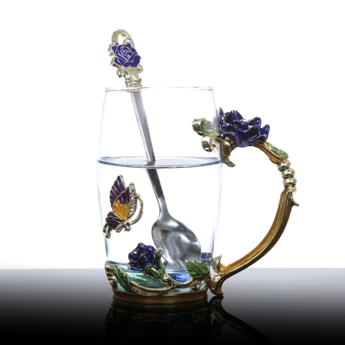 Blue Rose Enamel Craft Water Cup 350ML