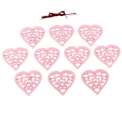 10Pcs Wooden Love Heart Shape with String Romantic Hanging Ornaments Wedding Decoration DIY Craft Supplies