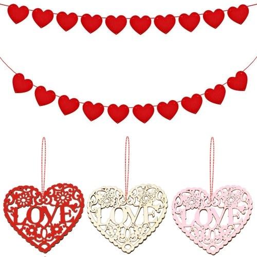 10шт деревянная любовь в форме сердца с строкой романтические висячие украшения свадебные украшения поделки товары для рукоделия фото