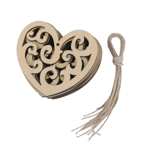10Pcs Heart Shaped Wood Slices with A Hole Hanging Ornaments Wood Craft Wedding Decoration