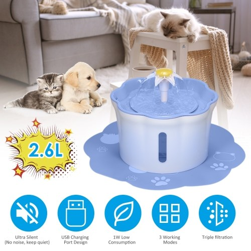 2.6L Automatic Pet Water Fountain Drinking Bottle Electric Water Dispenser Feeder Bowl with Triple 3 Adjustable Flow Setting Mat for Cats Dogs Pet