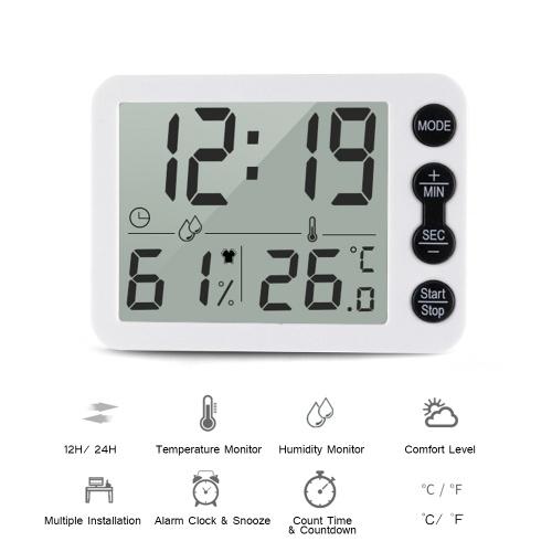 Цифровой комнатный термометр-гигрометр с ЖК-дисплеем с часами ℃ / ℉