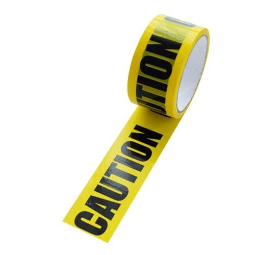 Fita amarela Slogan de aviso de texto em preto Fita adesiva Barreira de perigo Fita de precaução de segurança (Cuidado)