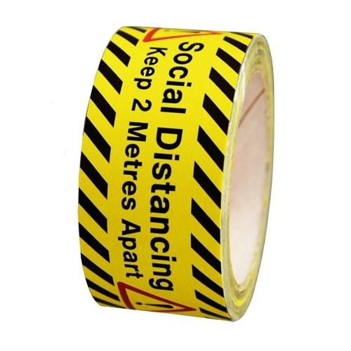 Social Distancing Keep 2 Meters Apart Printed Yellow Tape