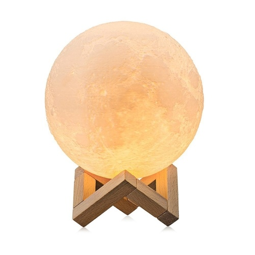 Large Moon Lamp Lighting Night LED 3D Printing Square Base 3 Color Desk Moon Lamp Dimmable  Moon night light with stand Touch Control Brightness