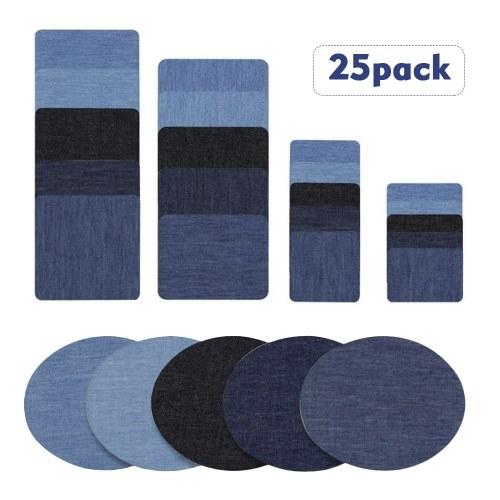Plancha de mezclilla de calidad superior en parches de Jean Tonos sin costura de azul negro Kit de reparación de 25 piezas de algodón surtido