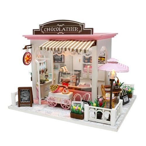 Dollhouse Miniatura DIY Mini Kit de casa con luces LED y muebles para set de regalo
