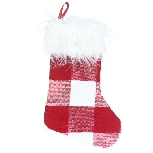 Calza natalizia Calza natalizia piccola con polsino in pelliccia sintetica in tessuto non tessuto scozzese