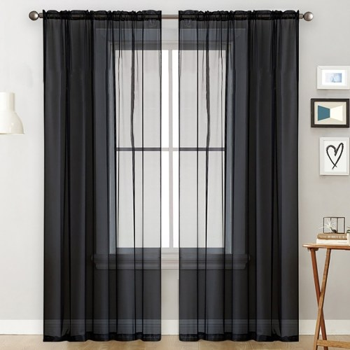 Sheer Curtains Living Room Rod Pocket Window Curtain Panels Black (39''Wx51''L,2 Panels)