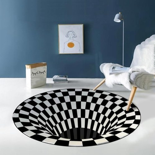 Okrągły dywan 3D Space, złudzenie optyczne w kratkę Vortex Antypoślizgowa mata podłogowa Antypoślizgowa mata podłogowa (60 * 60 cm)