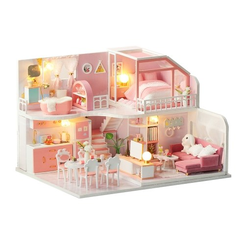 DIY Miniatur Puppenhaus mit Möbeln und LED-Leuchten 3D Holzpuppenhaus