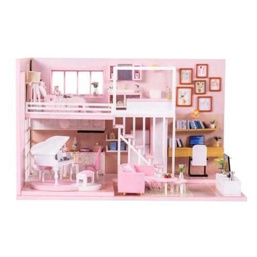 Casa de muñecas en miniatura de bricolaje con muebles y luces LED Casa de muñecas de madera 3D