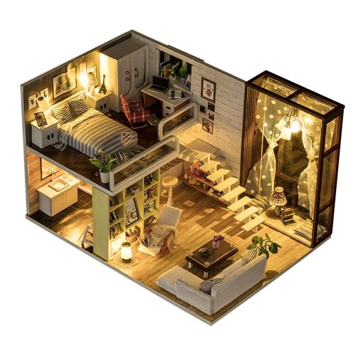 Casa delle bambole in miniatura fai da te con mobili e luci a LED Casa delle bambole in legno 3D